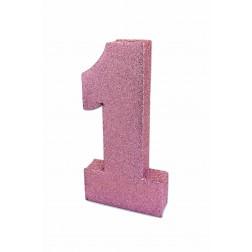 Tisch Deko 1 Glitzer pink 20cm