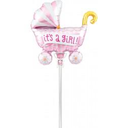 Air Folienballon Kinderwagen rosa 36cm
