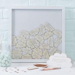 Bilderrahmen Gästebuch mit Holzwolken 38 x 40cm