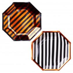 Pappteller in zwei Designs orange schwarz 8 Stück