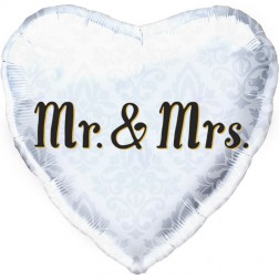 Folienballon Herz Mr & Mrs weiß damask 46cm