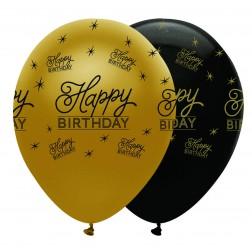 Luftballons Happy Birthday gold schwarz 6 Stück
