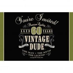 Einladungskarten 60. Geburtstag Vintage Dude 8Stück