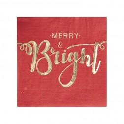 Servietten Merry And Bright Red & Gold 20 Stück