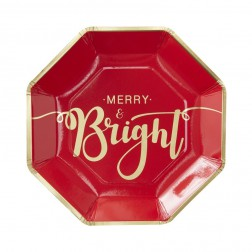Pappteller Merry And Bright Red & Gold 8 Stück