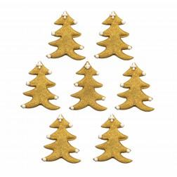 Zuckerdekor Tannenbaum gold 7 Stück