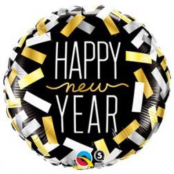 Folienballon Happy Happy New Year Konfetti 46cm