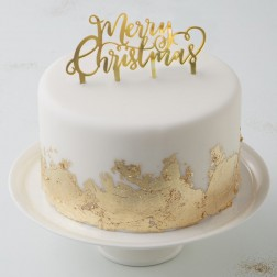 Merry Christmas Cake Topper gold
