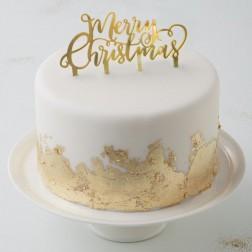 Merry Christmas Cake Topper gold