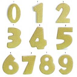 Kerzen Zahlen Glitter Gold von 0 bis 9