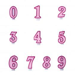 Kerzen Zahlen pink von 0 bis 9