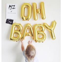 OH BABY Air Folienballons gold silber magenta blau