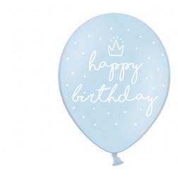 Luftballone Happy Birthday Pastellblau 6Stück
