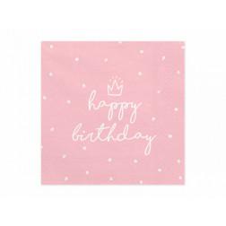Servietten Happy Birthday rosa 20 Stück
