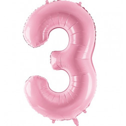 Folienballon Zahl 3 rosa 86cm
