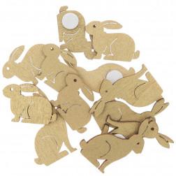 Holzsticker Hase klein gold 12 Stück