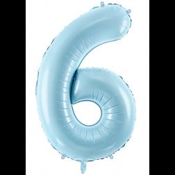 Folienballon Zahl 6 hellblau 86cm