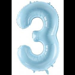 Folienballon Zahl 3 hellblau 86cm
