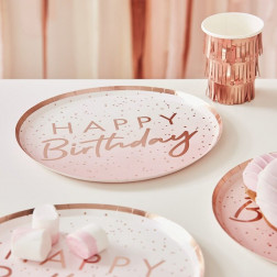 Pappteller Rose Gold Ombre Happy Birthday 8 Stück