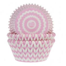Cupcake Formen chevron rosa 50 Stück