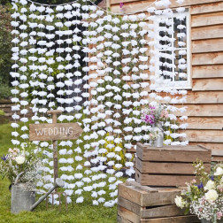 White Floral Back Drop - Rustic Country 2 x 1,8m