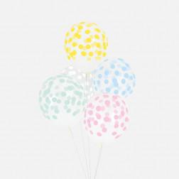 Luftballon durchsichtig mit Punkten pastell 5 Stück