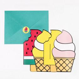 Einladungskarten Eis cream 8 Stück