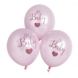 Luftballons oh baby Rosa 6 Stück