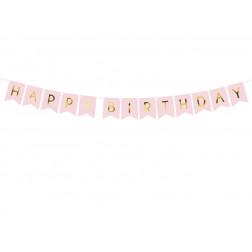 Girlande Happy Birthday rosa 175cm
