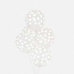 Luftballon durchsichtig mit Punkten weiß 5 Stück