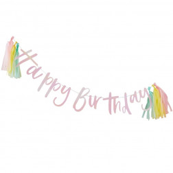 Happy Birthday Iridescent Girlande mit Quasten Pastel Party