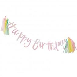 Happy Birthday Iridescent Girlande mit Quasten Pastel Party