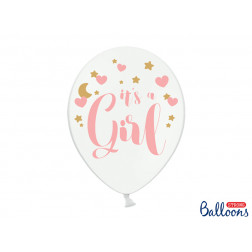 Luftballons It's a Girl Pastel Pure White 6 Stück