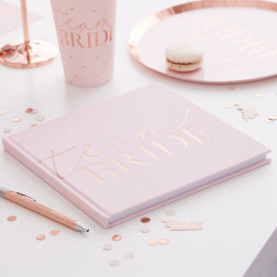 Pink Blush Velvet Team Bride Hen Party Guest Book