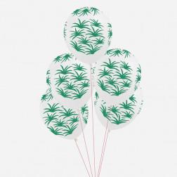 Luftballons green leaves 5 Stück