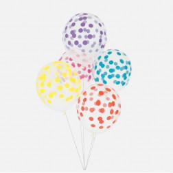 Luftballon durchsichtig mit Punkten multicolor 5 Stück