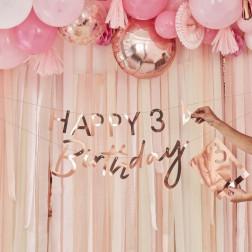 Happy Birthday Girlande mit Zahlen von 0 bis 9 Rose Gold