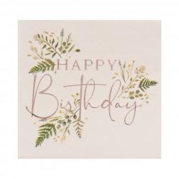 Servietten Floral Tea Happy Birthday Napkins 16 Stück