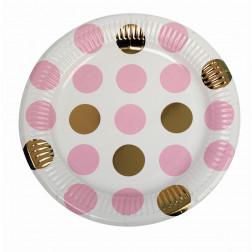 Pappteller Pattern Works Pink Dots 8 Stück