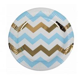 Pappteller Pattern Blue Gold Chevron 8 Stück