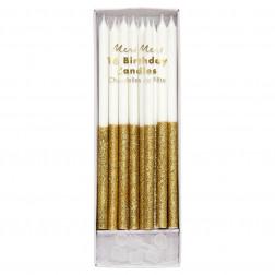 Kerzen Gold Glitter Dipped 16 Stück