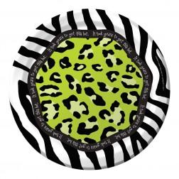 Pappteller Leopard Print grün 8 Stück