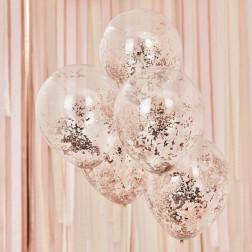 Luftballons micro Confetti Rose Gold 5 Stück