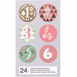 Adventskalender Sticker rot grün gold 1 bis 24