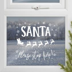 Santa Stop Here Window Sticker