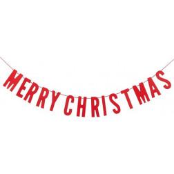 Merry Christmas Girlande Holz rot 70cm