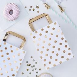 Party Bags polka dots gold 5 Stück