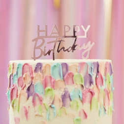 Cake Topper Happy Birthday Acrylic Rosegold 12cm