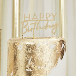 Cake Topper Happy Birthday Acrylic Gold 12cm