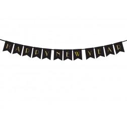 Happy New Year Banner black gold 1,7m